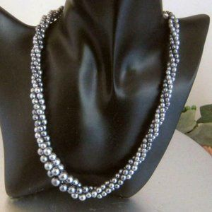 Vintage Napier gray twist Bead Necklace